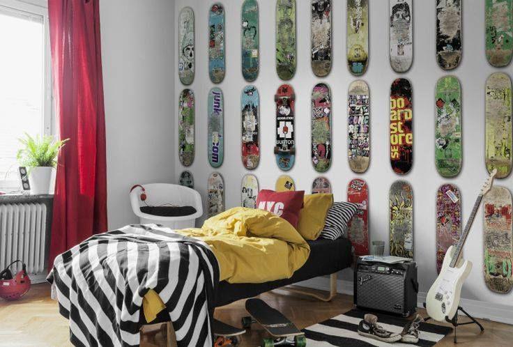 This is the room of a skateboarder lover and their skateboards. Each skate deck has a story, friends, girlsfriends, skateparks, championship, travel, boyfriends and more. More gift ideas for skater on www.skate-home.com  #interior #decor #skateroom #decoration #skatergift #skatedecor #skatewall #wall #skateboarding #sk8 #bedroom #kidsdecor #kidsroom #teenroom #room #skate #deck #skateboarder #skater