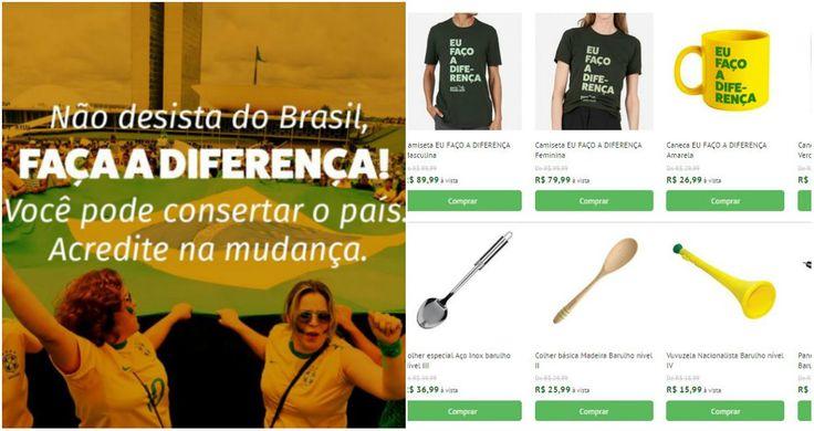 """Diante do panorama político atual, o site Bate Panelaço viralizou nas redes sociais por usar a criatividade para tentar mudar o país de forma efetiva. A princípio, ele parece ser um e-commerce de produtos """"anti-corrupção"""" e contra o PT, usando o slogan: """"Não desista do Brasil. Faça a diferença! Você pode consertar o país. Acredito na mudança""""."""