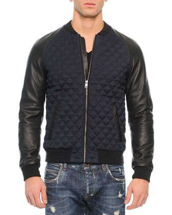 Quilted Leather Bomber Jacket, Navy/Black by Dolce & Gabbana at Neiman Marcus.