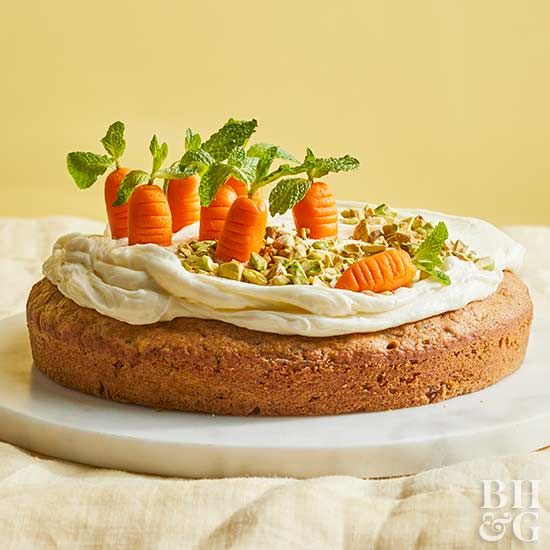 Veggies and cake shouldn't work together ... but they do in this recipe. And we're not just talking about the marzipan vegetable patch. Double up on the veggies in this dessert with a tasty combination of zucchini bread and carrot cake.