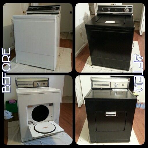 Weekend Project: paint our washer & dryer! These old 60's model appliances didn't fit in with the rest of the house, so we gave them a fresh coat of black paint to update. They look pretty neat! Plus it's amazing that they still work! They don't make things like they used to