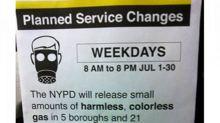 Heads Up! NYPD Test Will Release Gas In 5 Boroughs and 21 Subway Lines
