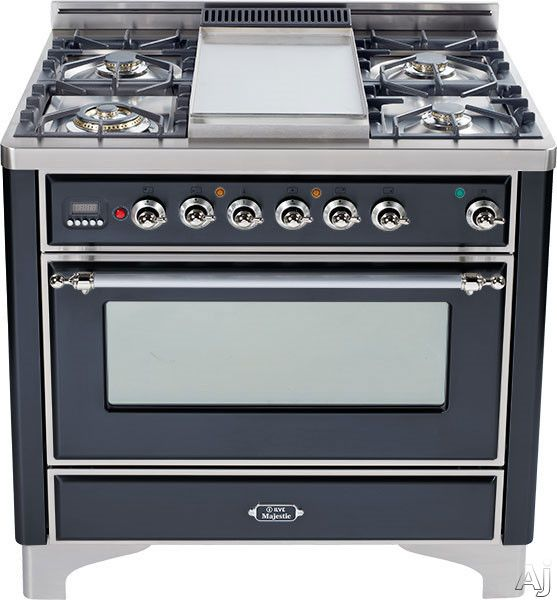 """Ilve UM90FMPMX 36"""" Traditional-Style Dual Fuel Range with 4 Sealed Burners, Convection Oven, Manual Clean, Griddle, Rotisserie, Warming Drawer and Chrome Trim: Matte Graphite"""