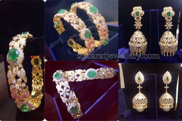 Jewellery Designs: Diamond Jhumkas Classy Bangles