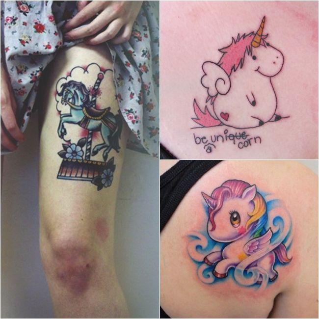 Tatuagens de Unicórnios - Garotas Rosa Choque