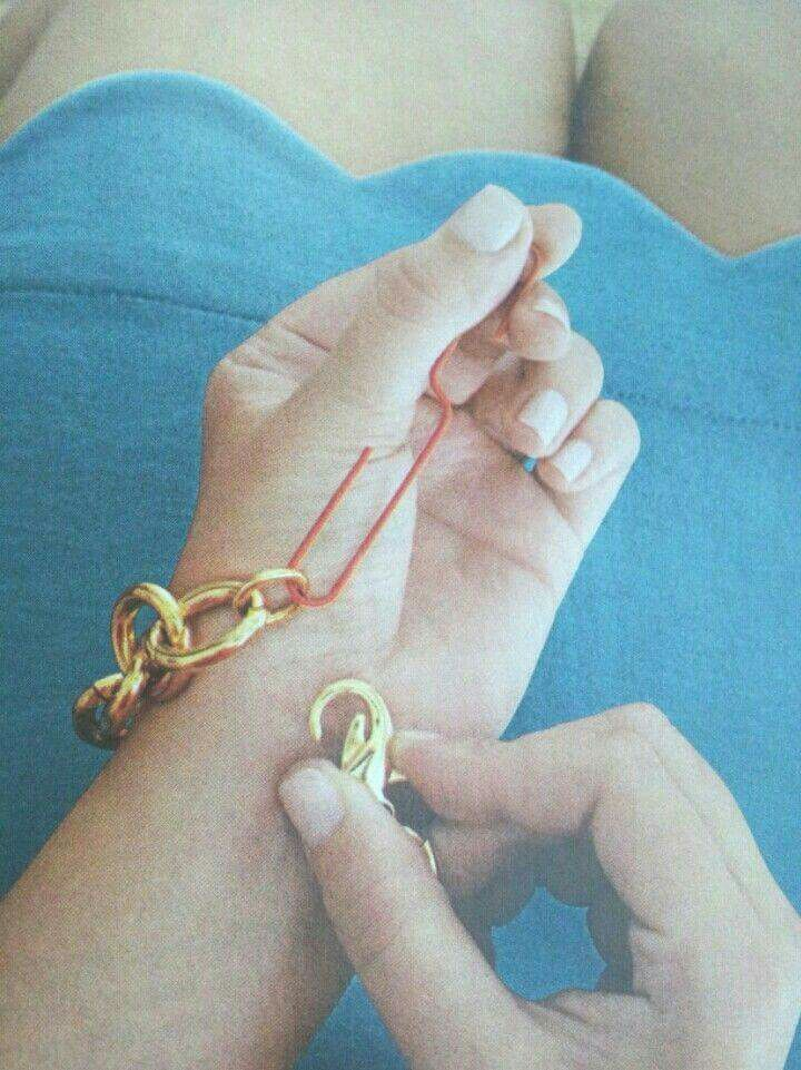 Use an oversized paper clip to help close bracelet clasps.