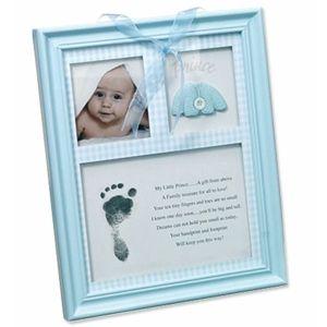 cadre photo bleu avec empreinte bebe empreinte bebe. Black Bedroom Furniture Sets. Home Design Ideas