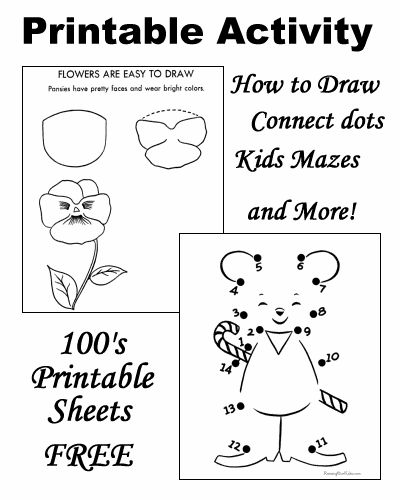 printable activities for kids - Free Activity Sheets For Kindergarten