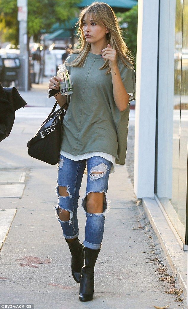 Bold: Model Hailey Baldwin, 18, was spotted flaunting her pins in a pair of overly-shredde...