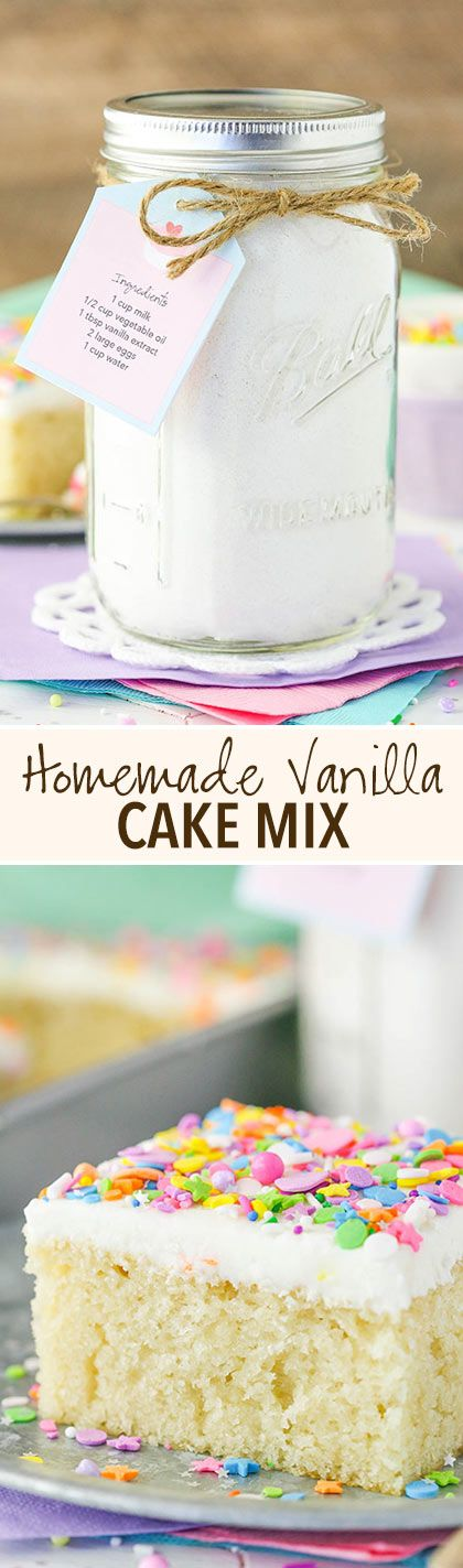 Homemade Vanilla Cake Mix! Such a moist and easy cake to put together! With a printable tag! (Easy Mix Vegetables)