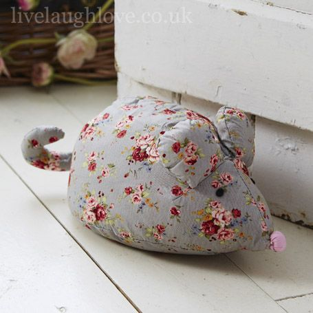 Chintz Mouse Door Stop - Blue/Grey