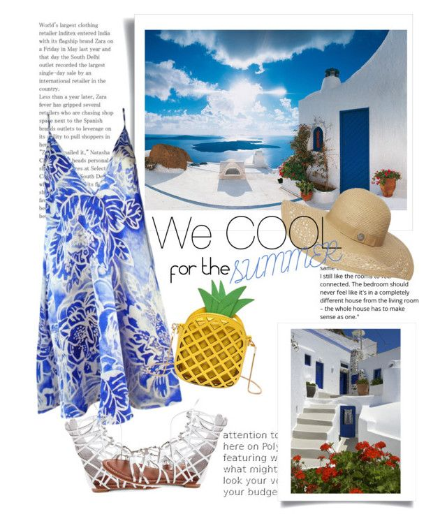 """SUMMER in Santorini"" by egaemgyu on Polyvore featuring Brewster Home Fashions, Plakinger, Bernardo, Dorothy Perkins and summerdress"