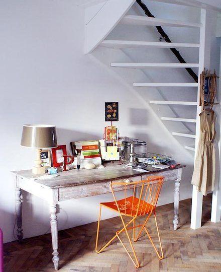 Earth Tones + Orange = Cozy Chic Work Space