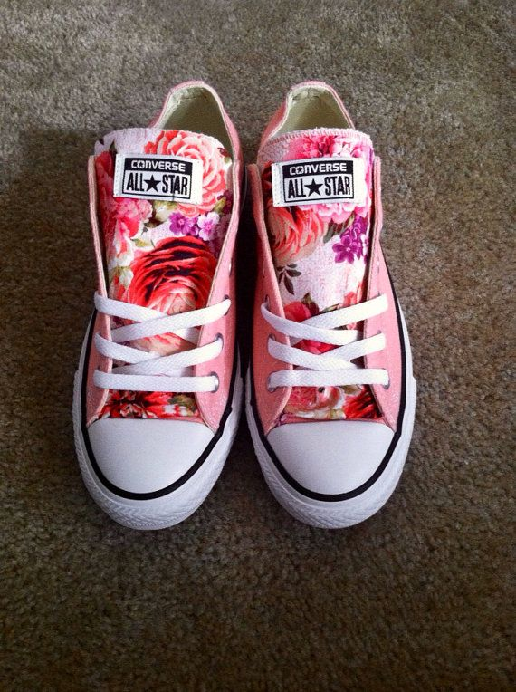 Pastel pink canvas converse with floral tongue size 7 womens shoe