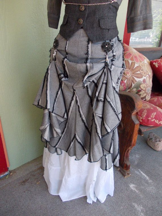 The Fuzzy Grey Area Bustle Skirt: Upcycled Steampunk Adjustable Mermaid Bustle Skirt in Women's SIZE LARGE