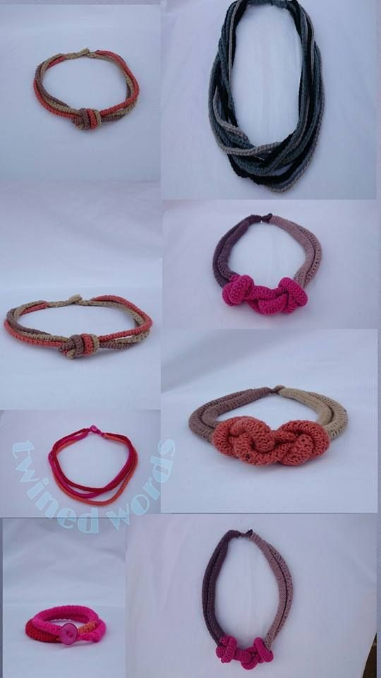 knitted necklaces by Twined Words. handmade with 100% coffee cotton