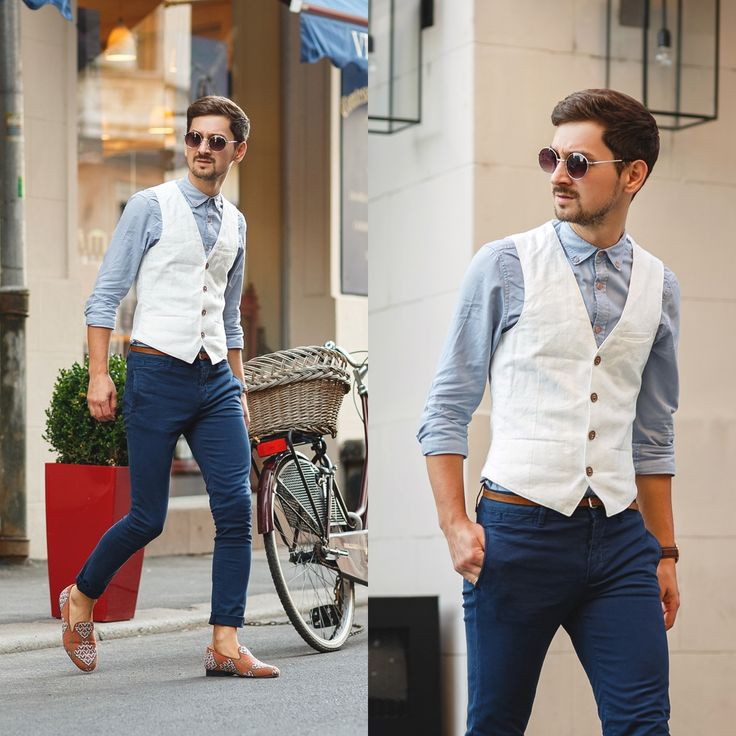 Blog post: http://themysteriousgirl.ro/2015/07/the-white-vest/  Instagram: https://instagram.com/adriansunriseinc/  white vest navy chinos pants slim fit inka slippers blue shirt round sunglasses