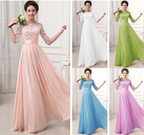 2015 New Vestidos De Fiesta Tulle Lace Chiffon Long Wedding Party Dress Elegant Junior Bridesmaid Formal Prom Dress with Sleeves-in Bridesmaid Dresses from Weddings & Events on Aliexpress.com | Alibaba Group