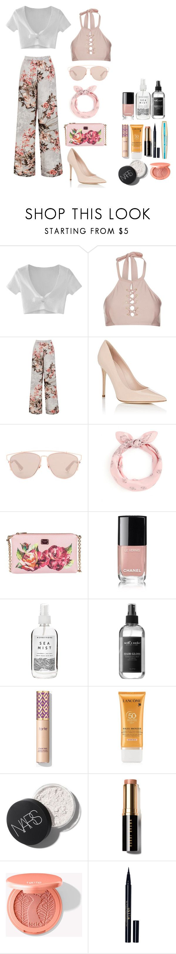 """Untitled #116"" by rahmadita14 on Polyvore featuring WithChic, Topshop, Sans Souci, Barneys New York, Christian Dior, Dolce&Gabbana, Chanel, Herbivore, Earth's Nectar and Lancôme"
