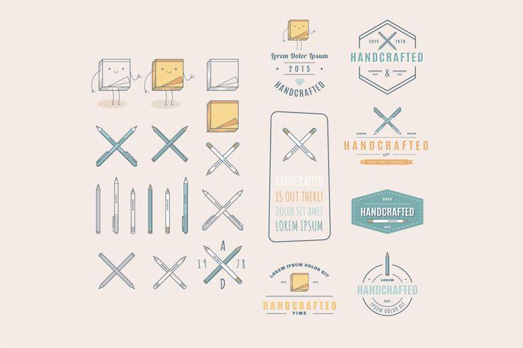 Badges retros na moda e logo vintage. Artesanato - APLICAÇÕES SUPORTADAS  Adobe Illustrator, Adobe Photoshop  TIPOS DE ARQUIVO  AI, EPS, PSD - IA Produtos