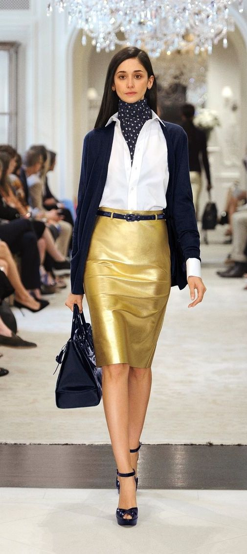 The Ralph Lauren Collection striking metallic leather Eva skirt is crafted to give this classic pencil style a slim, sexy fit.