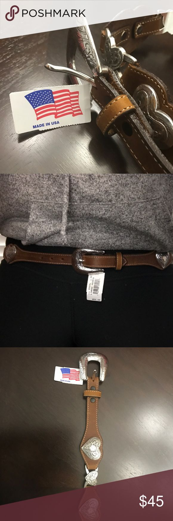 Genuine leather, made in USA, country girl belt Genuine leather, beautifully crafted, country girl belt. Made in America! New with tags, never worn. Accessories Belts