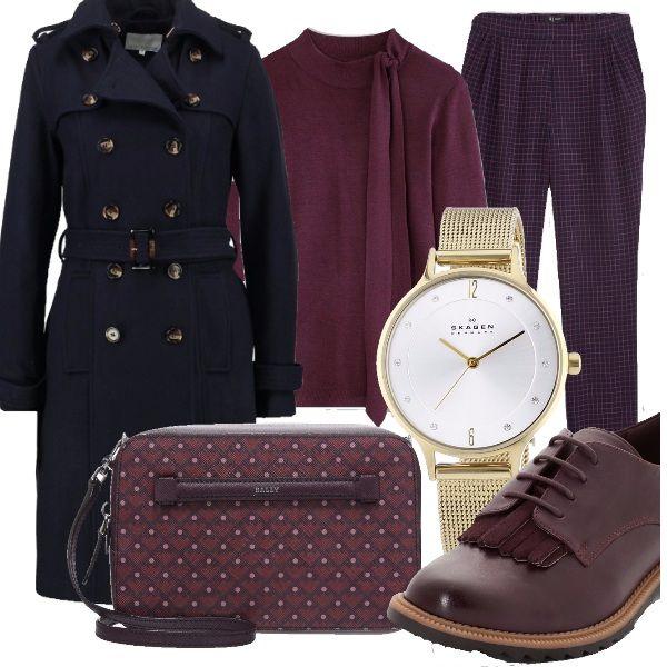 Nei toni tipici dell'autunno un competo giusto giusto per l'ufficio...colori e forme sobri, scarpa comoda e un tocco estramamente femminile con l'orologio con le ore brillanti. Io personalmente adoro la borsa...