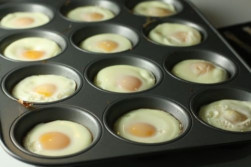 Perfectly cooked, shaped eggs - and you can bake a whole lot simultaneously: Just grab a muffin tin and and very lightly oil each spot in the tin with either butter or spray oil. Then crack an egg in each muffin area! Stick these in a 350 degree oven for about 15-20 minutes. Put on a English muffin, with shredded cheese. Can be frozen and reheated. (more a tip than a recipe-use whole wheat English Muffin)