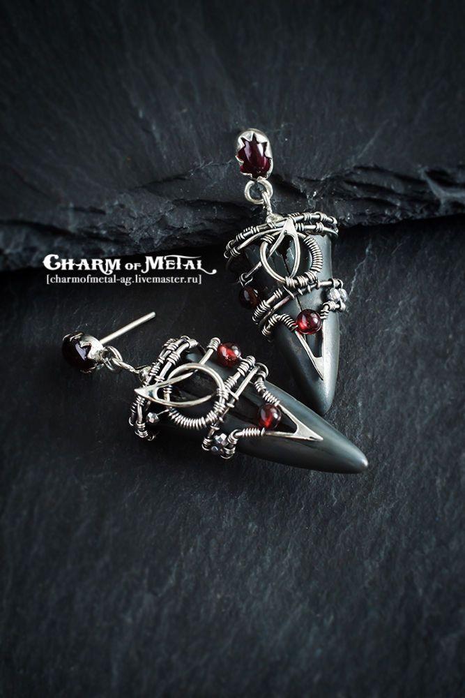"""Купить """"Mako Shark"""" Серебряные серьги-амулеты - украшение, подарок девушке, подарок женщине, серебро"""