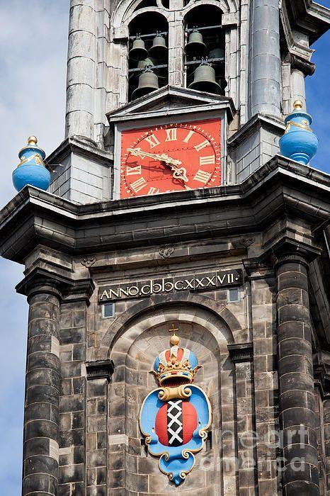 Holland, Netherlands. Amsterdam coat of arms, clock and bells of Westerkerk (Western Church) bell tower.