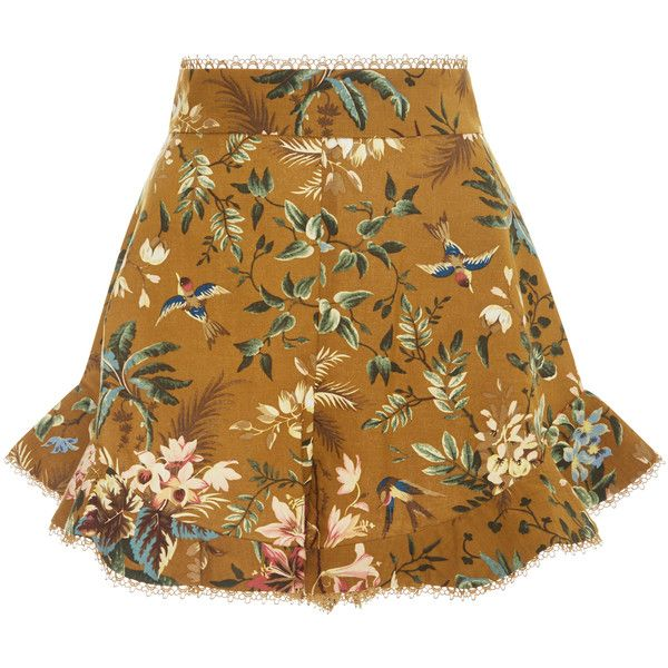 Zimmermann Tropical Floral Flutter Shorts ($370) ❤ liked on Polyvore featuring shorts, skirts, bottoms, floral, floral print shorts, frilly shorts, ruffle trim shorts, floral printed shorts and flounce shorts