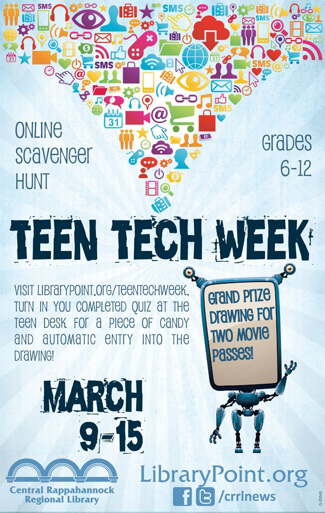 Teen Tech Week is March 9-15! We're celebrating with an online scavenger hunt and movie pass drawings for teens in grades 6-12.