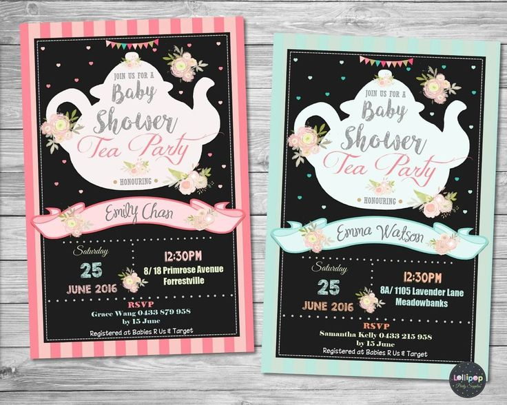 Tea Party / High Tea Baby Shower Invitation - Personalized - Printed or Digital - Ship Worldwide!  Visit www.lollipoppartysupplies.com.au