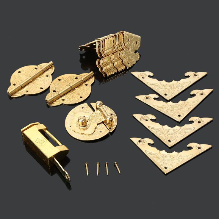 Antique Garnitures de Meubles Chinois Ferrures En Laiton Boîte En Bois Cabinet Verrou Hasp + Serrure + Charnières + Coin Plaques + Coin protecteurs dans   de   sur AliExpress.com   Alibaba Group