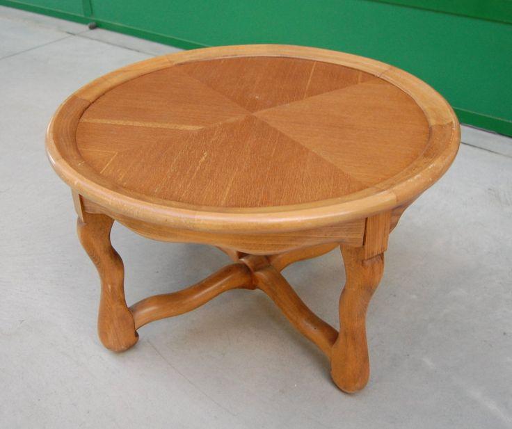 Tavolino da salotto inizio '900 in rovere diametro 69 cm