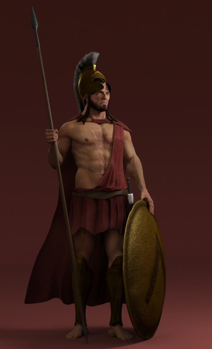 """Spartan Hoplite""  My attempt to do a 3d character the way Spartan warriors was..."