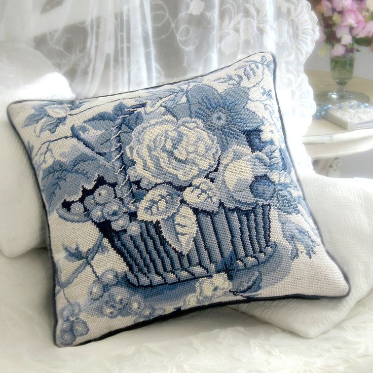 Blue and White Basket - Ehrman Tapestry ~ COTTAGE BLUES