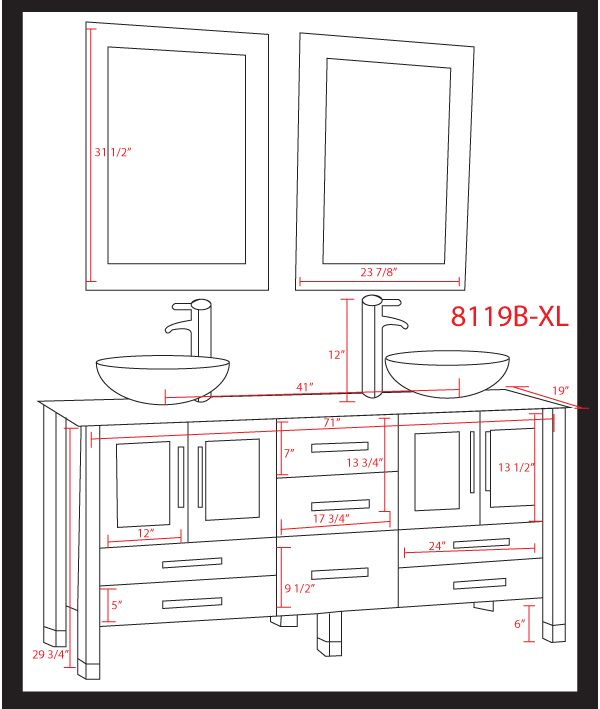 Cambridge 71 inch white glass double sink vanity - Standard bathroom mirror dimensions ...
