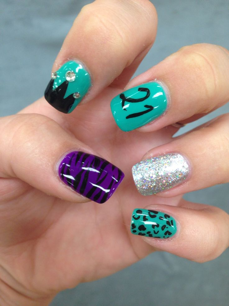 21st birthday nails!