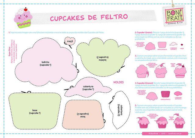 Cupcakes de Feltro (PAP com molde) by BoniFrati ® bonifrati.com.br, via Flickr