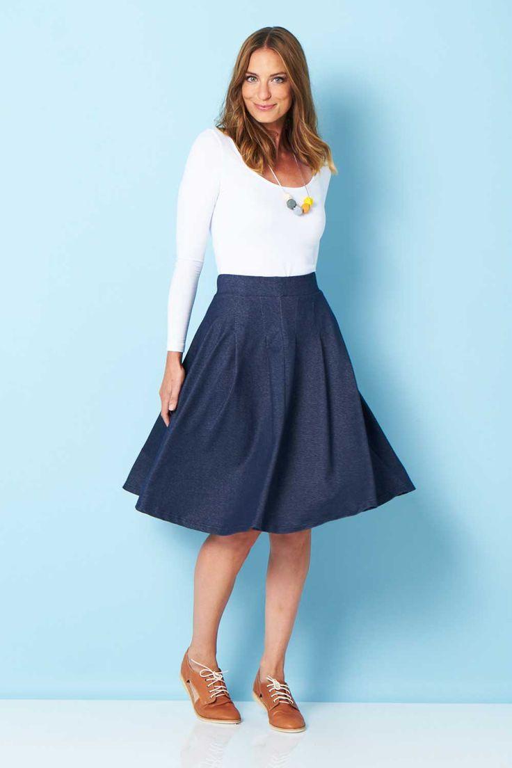 HANDPICKED BY BIRDS - Denim Look Full Skirt