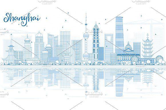 #Outline #Shanghai #Skyline by Igor Sorokin on @creativemarket