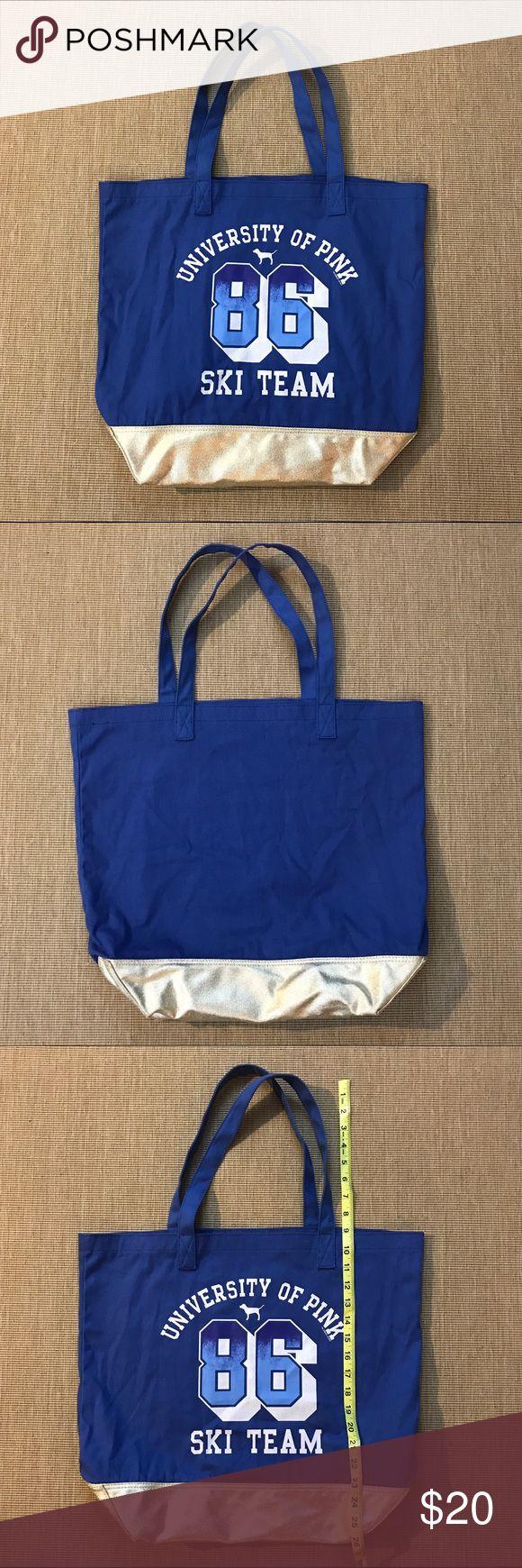 Victoria's Secret PINK SKI TEAM Blue Gold Tote Bag UNIVERSITY OF PINK 86 SKI TEAM Blue Sholder Bag. In like new condition. Gold shiny bottom of the bag. See photo for measurements. PINK Victoria's Secret Bags Shoulder Bags