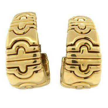 large bvlgari bulgari parentesi 18k gold hoop earrings
