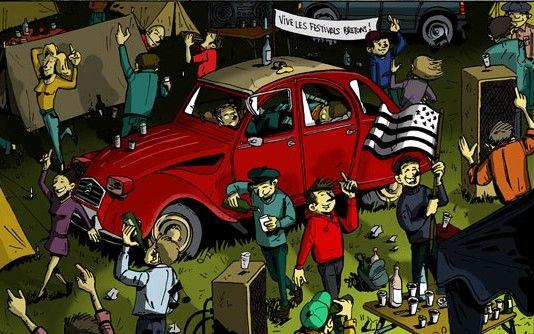 En 1998, on part en deuche, faire la fête au festival des vieilles charrues. Avec notre TPV, on parcourt les champs à la recherche d'une place pour camper