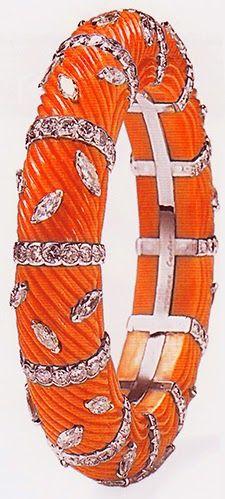 Cartier coral bangle, platinum, diamonds 1968