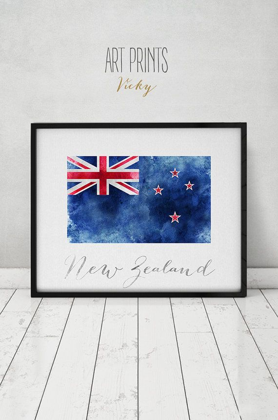 New zealand flag poster new zealand art print watercolor wall art watercolor flag typography office decor home decor artprintsvicky