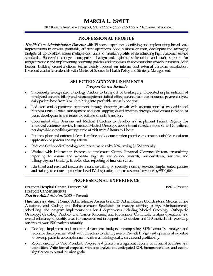 47 best RESUME images on Pinterest Free resume, Resume and - nursing home administrator sample resume