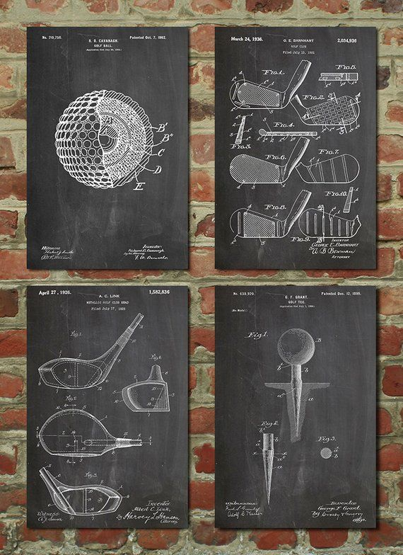Golf Patent Posters Group of 4, Golf Gifts for Men, Golf Decor, Office Decor, Golf Club, Golf Ball,