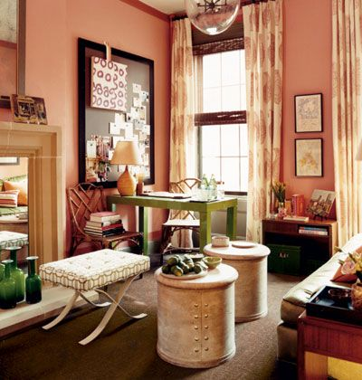the ideal scrapbooking room: Living Rooms, Offices Spaces, Wall Color, Interiors, Pink Rooms, Little Girls Rooms, Coral Wall, Paintings Color, Southern Accent